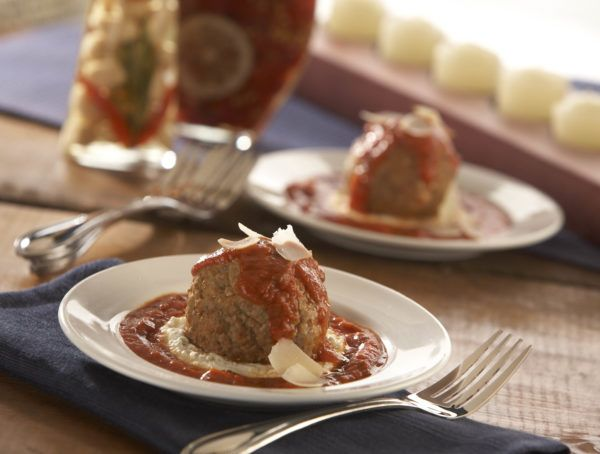 Beef and Pork Meatball with Ricotta Cheese and Marinara Sauce