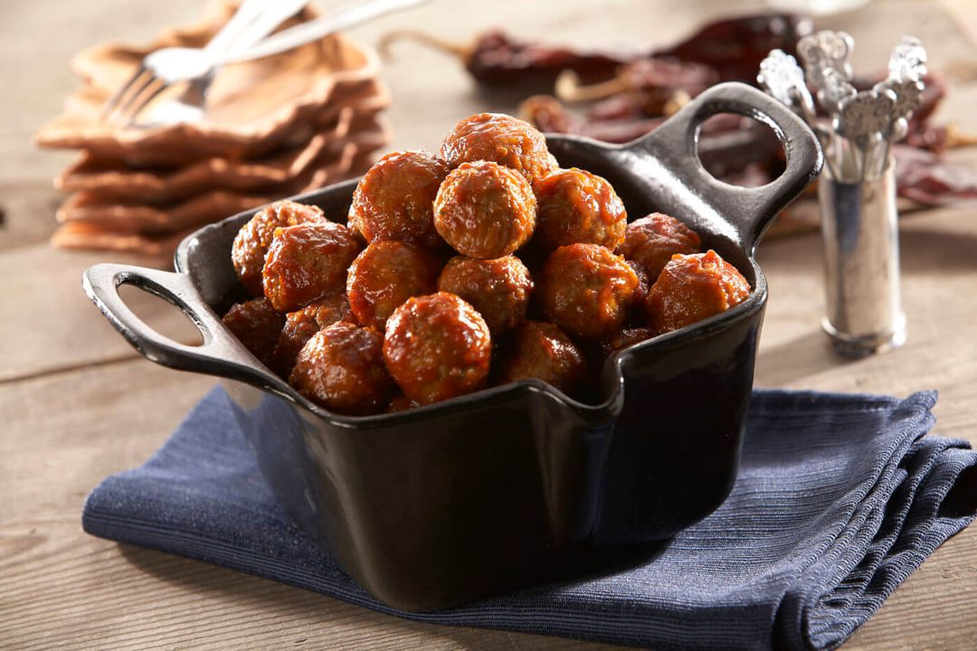 Rosina spicy chipotle meatballs in cast-iron pot